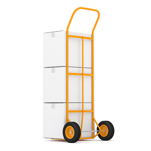 Boxes stacked on a hand truck