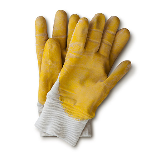 Yellow workmans gloves